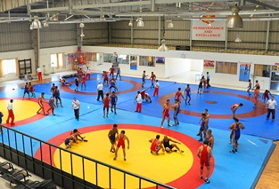 world class wrestling hall with 4 wrestling mats.jpg